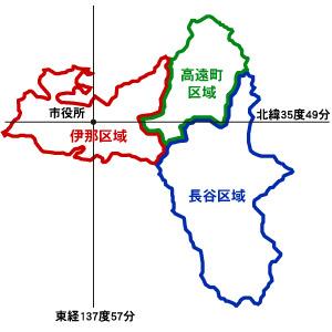 伊那市の区域境界